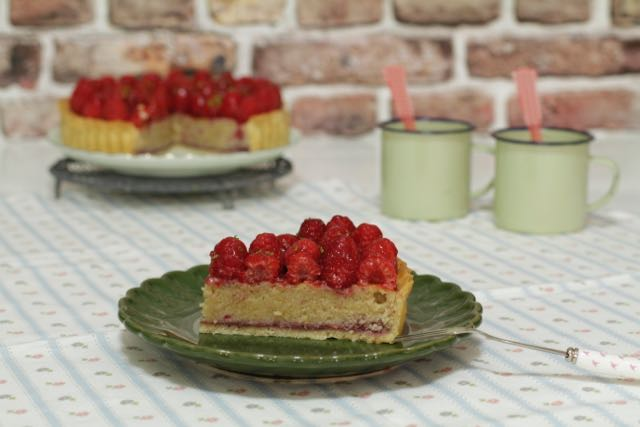 Raspberry and frangipane tart
